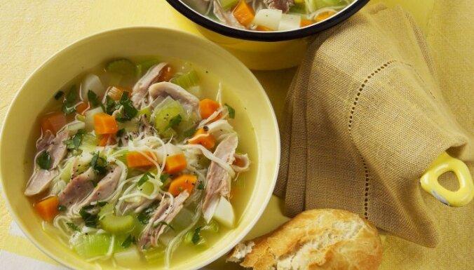 Vistas buljona zupa ar dārzeņiem un nūdelēm