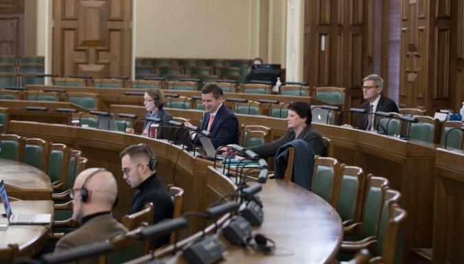Saeima izskatījusi 9 no 30 budžeta likumprojektiem; turpinās otrdien. Teksta tiešraides arhīvs