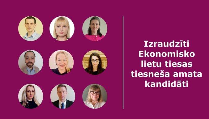 Par Ekonomisko lietu tiesas tiesnešiem izraudzīti desmit kandidāti
