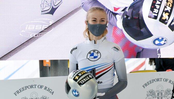 Skeletoniste Tērauda PK debijā Siguldā izcīna augsto trešo vietu