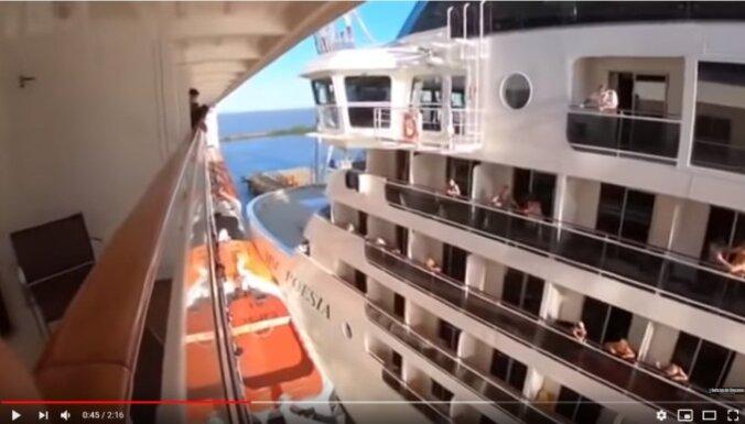 ВИДЕО. Столкновение гигантских круизных лайнеров в порту попало на видео
