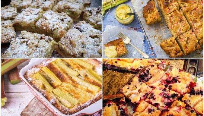 Mājīgās rabarberu plātsmaizes: 22 receptes ikdienai un svētkiem