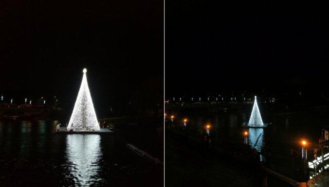 Peldošā egle Anīkščos – Ziemassvētku rota uz upes