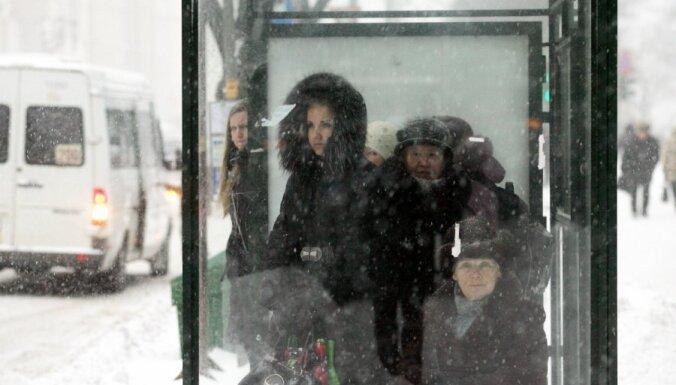 В Риге снежная буря сопровождалась громом