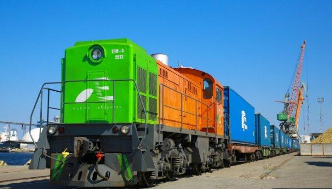 ФОТО: Из Риги в Китай отправлен первый контейнерный поезд