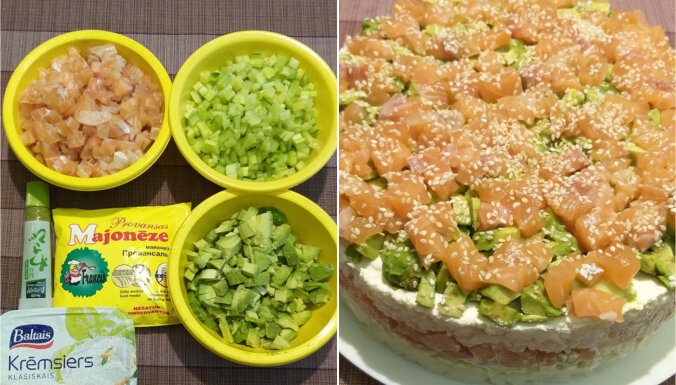 Kārtainie suši salāti ar lasi un avokado