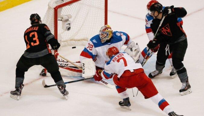 Krievijas hokejisti Pasaules kausā ar grūtībām notur pārsvaru pār Ziemeļamerikas talantiem