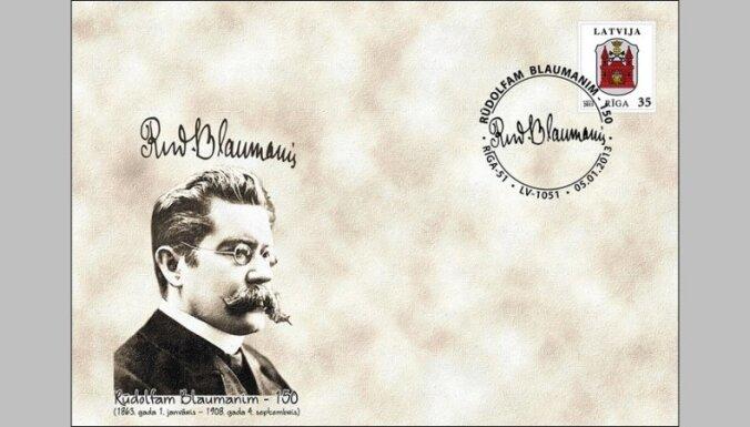 Latvijas Pasts izdevis Rūdolfa Blaumaņa 150.jubilejai veltītu aploksni