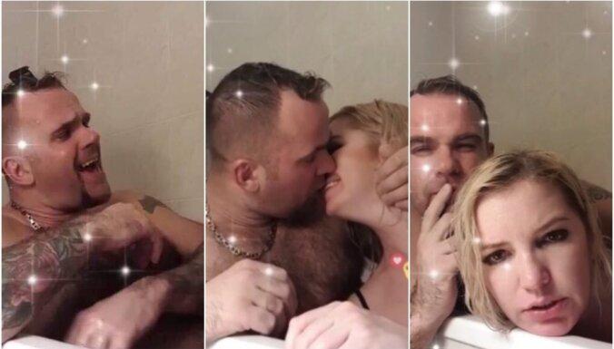 Kivičs un Skulme vannā: pāris pārsteidz ar drosmīgu video tiešraidi