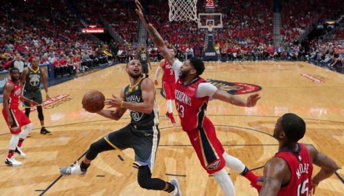 'Pelicans' izcīna pirmo uzvaru sērijā pret čempioni 'Warriors'