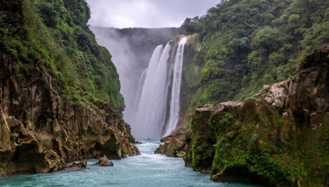 Tirkīzzili ezeri un ūdenskritumi: tropiska oāze Meksikas džungļos