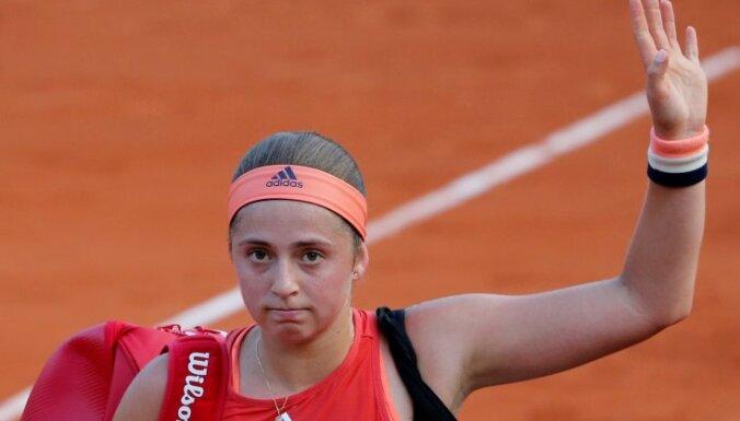 Ostapenko ar pārinieci ceturtdaļfinālā izstājas no 'French Open' dubultspēļu turnīra