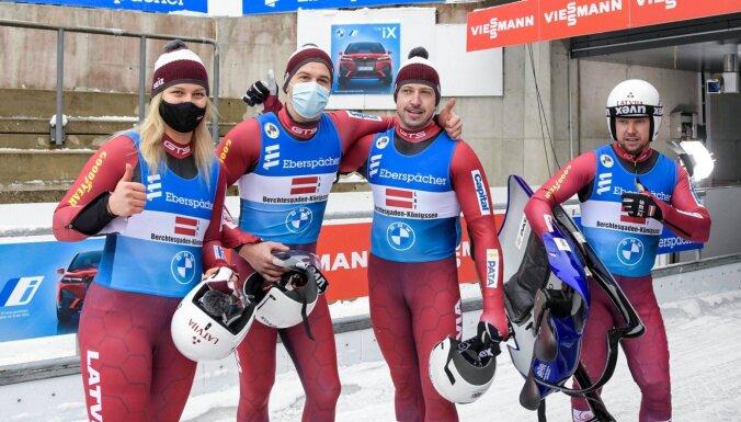 Latvijas kamaniņu braucēji pasaules čempionāta stafetē izcīna bronzu