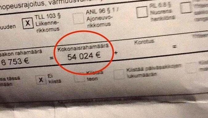 54 024 eiro – sods Somijas miljonāram par 23 km/h pārkāpumu