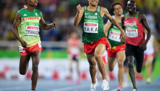 Algeria Abdellatif Baka wins gold ahead Ethiopia Tamiru Demisse, 1,500 m T13 final Paralympic Games