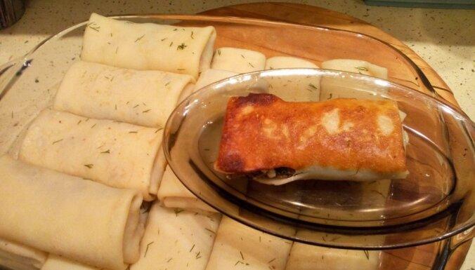 Foto recepte: pankūkas ar aļņa gaļas un vārītu olu pildījumu