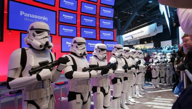 Imperial stormtroopers from the movie Star Wars take up positions at the Panasonic booth the Blu-ray release of the complete Star Wars movie saga