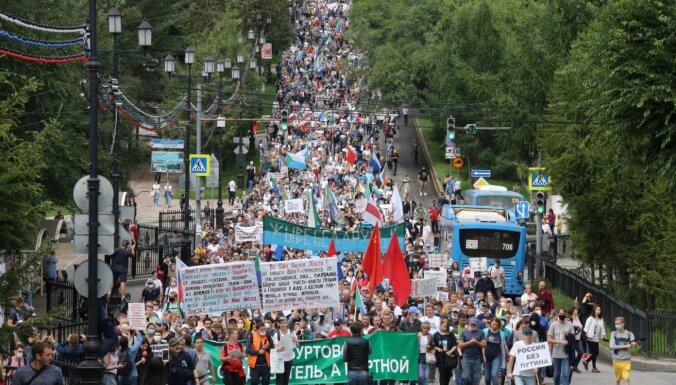 Habarovskā jau sesto nedēļas nogali turpinās protesti