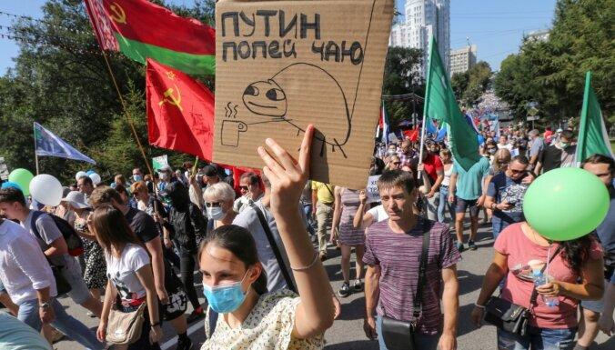 Habarovskā protestētāji pieprasa tiesu Putinam