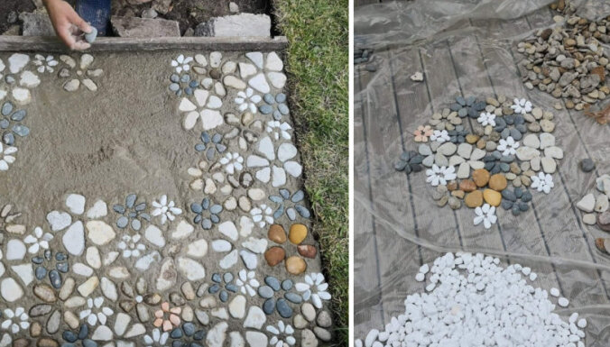 ФОТО. Творческий подход и 100 кг камней: садовая дорожка своими руками