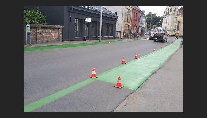 В Каунасе придумали особую разметку улицы для велосипедистов