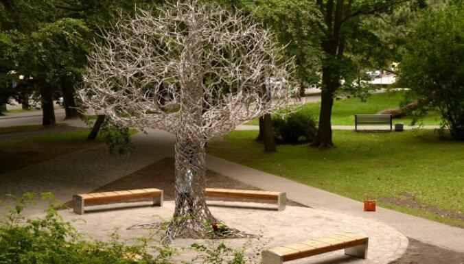 Foto: Liepājā atklāts 'Līvu' leģendai veltītais 'Spoku koks'
