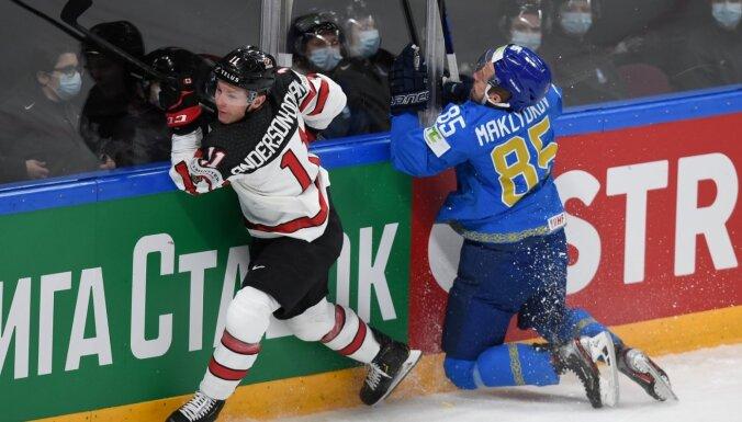 Kanādas hokejisti pārvar Kazahstānas atspēlēšanos un turpina tiekties pēc ceturtdaļfināla