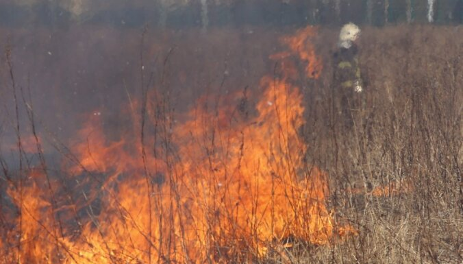 В Кекавском крае выгорело 11 гектаров, пострадал один пожарный