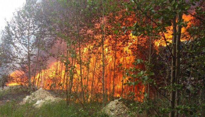 Пожар на свалке в Юрмале: Трукснис возмущен действиями ответственных служб