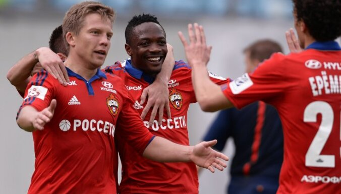 CSKA s players Aleksandrs Cauna, Ahmed Musa and Roman Yeryomenko