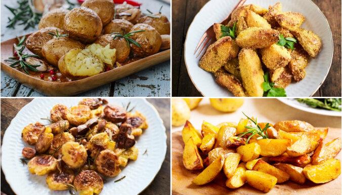 12 elementāras krāsnī ceptu kartupeļu receptes piedevās svētku cepešiem
