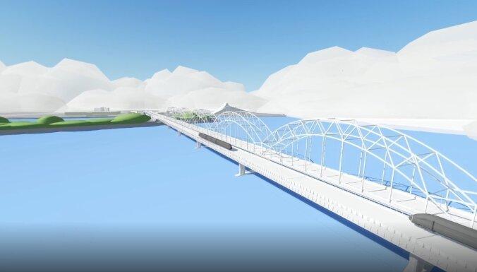 Foto: Jaunais Rīgas tilts – divi sliežu ceļi un gājēju josla