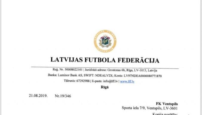 Vēstuļu kari futbolā – 'Ventspils' neizpratnē par LFF lūgumu