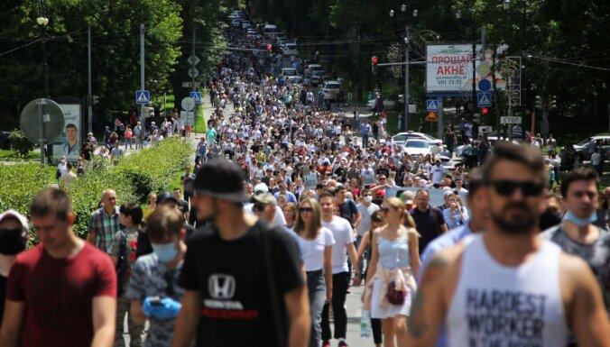 В Хабаровске прошли многотысячные протесты против ареста губернатора Фургала