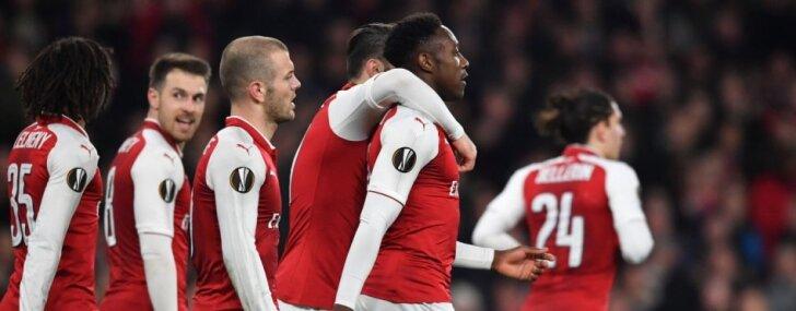 'Arsenal' vēlreiz pieveic 'AC Milan'; noskaidroti arī pārējie Eiropas līgas ceturtdaļfinālisti