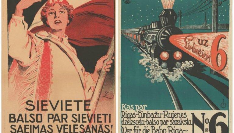 Atradumi izstādē 'Latvijas gadsimts'. Saeimas vēlēšanu aģitācijas plakāti 20. un 30. gados