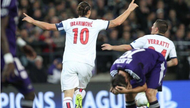 Ibrahimoviča četri 'goli' palīdz 'Saint-Germain' izcīnīt graujošu uzvaru