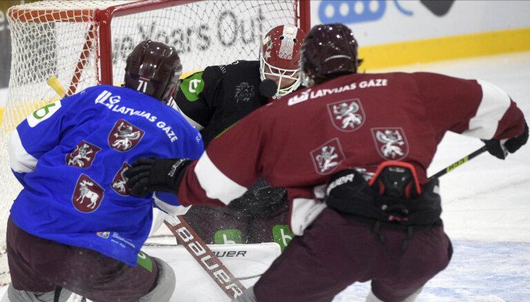Latvijas hokeja izlase 'Arēnā Rīga' aizvadījusi treniņspēli