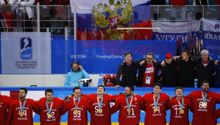 SOK nesodīs OAR olimpisko hokeja izlasi par apbalvošanā nodziedāto Krievijas himnu
