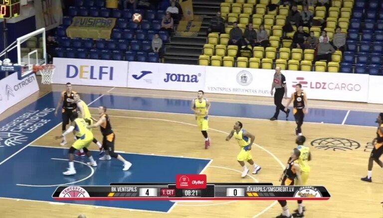 'OlyBet' basketbola līga: 'Ventspils' - 'Jēkabpils/SMScredit.lv'. Spēles labākie momenti