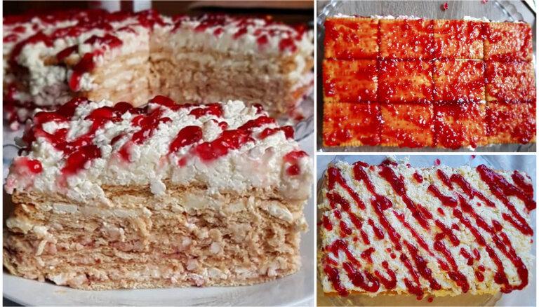 Ātrā biezpiena torte ar 'Selgas' cepumiem
