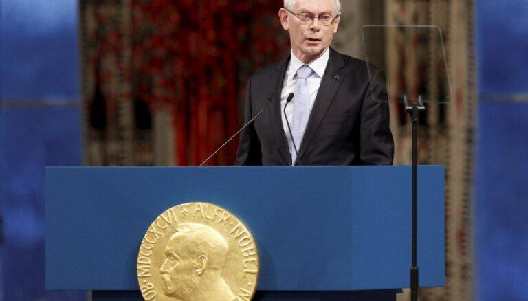 ES līderi, saņemot Nobela Miera prēmiju, piemin arī Baltijas valstu pieredzi ceļā uz mieru