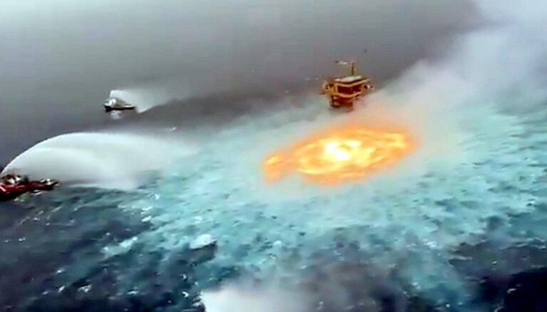 Video: Meksikas līcī pēc gāzesvada avārijas zem ūdens izceļas ugunsgrēks