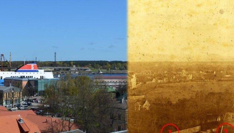 Foto: Ventspils pilsētas panorāma pirms 135 gadiem un tagad