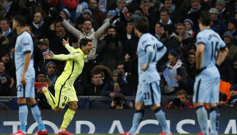 Лига чемпионов. В Манчестере увидели дубль Суареса и не забитый пенальти Месси