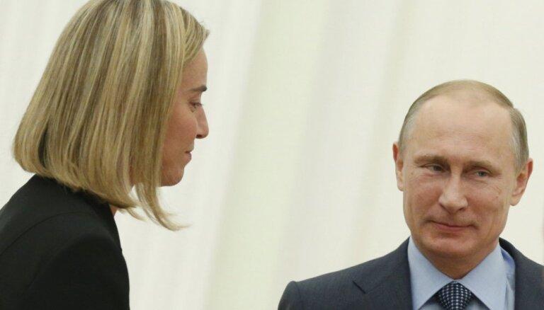 Mogerīni klusiņām gatavo pret Krieviju noteikto sankciju atcelšanu
