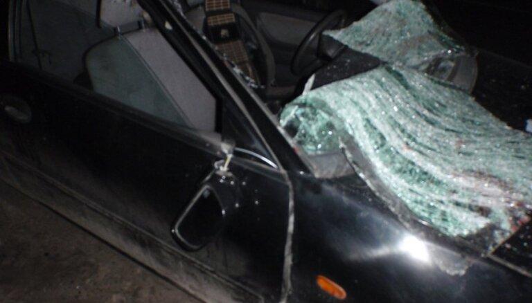 Mazsalacas novadā auto uzbrauc uz ceļa izskrējušam alnim