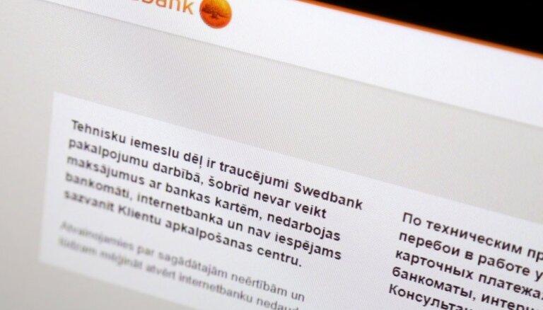 'Swedbank' darbības traucējumi saistīti ar tehniskajiem sistēmas atjaunināšanas darbiem