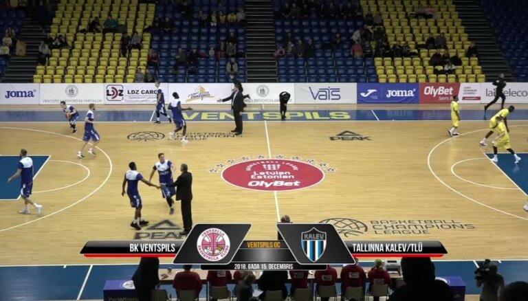 'OlyBet' basketbola līga: 'Ventspils' - Tallinas 'Kalev/TLU'. Spēles labākie momenti (15.12.2018.)