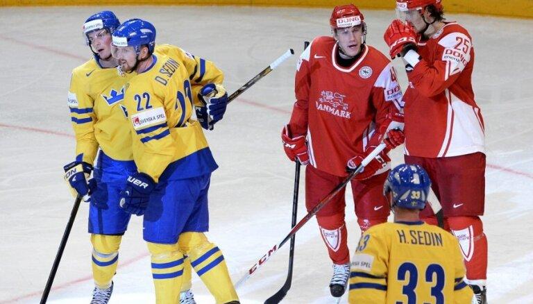 PČ grupu turnīrs noslēdzas ar Zviedrijas uzvaru pār Dāniju